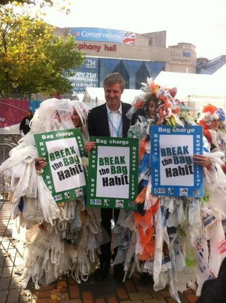 Zac Goldsmith, MP meets the bag monsters and backs the campaign.